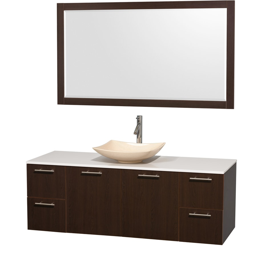 Wyndham Collection Amare Espresso 60-in Vessel Single Sink Bathroom Vanity with Engineered Stone Top (Mirror Included)