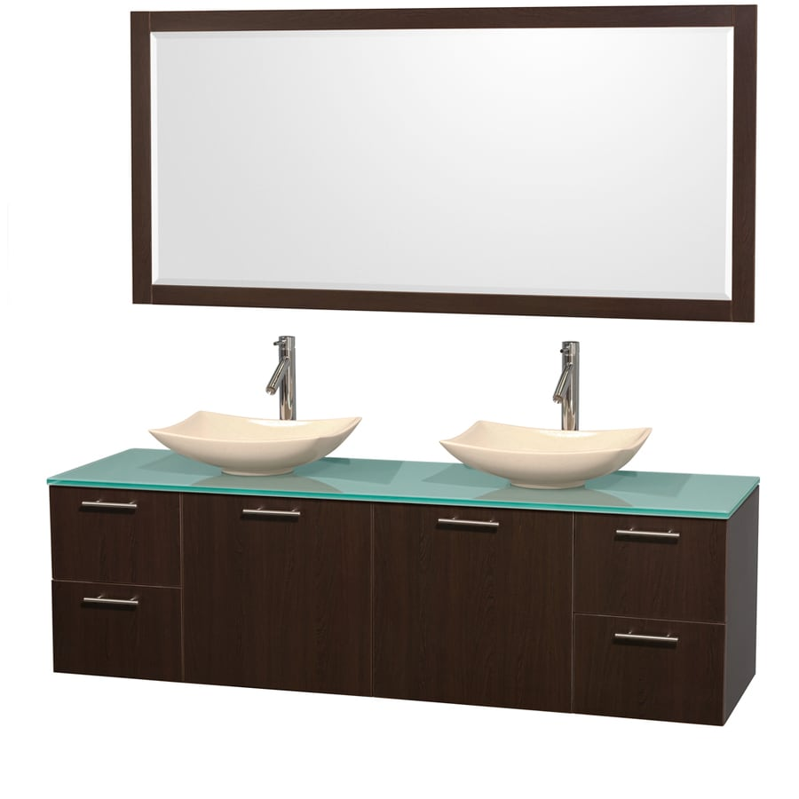 Wyndham Collection Amare Espresso Double Vessel Sink Bathroom Vanity with Tempered Glass and Glass Top (Common: 72-in x 22-in; Actual: 72-in x 22.25-in)