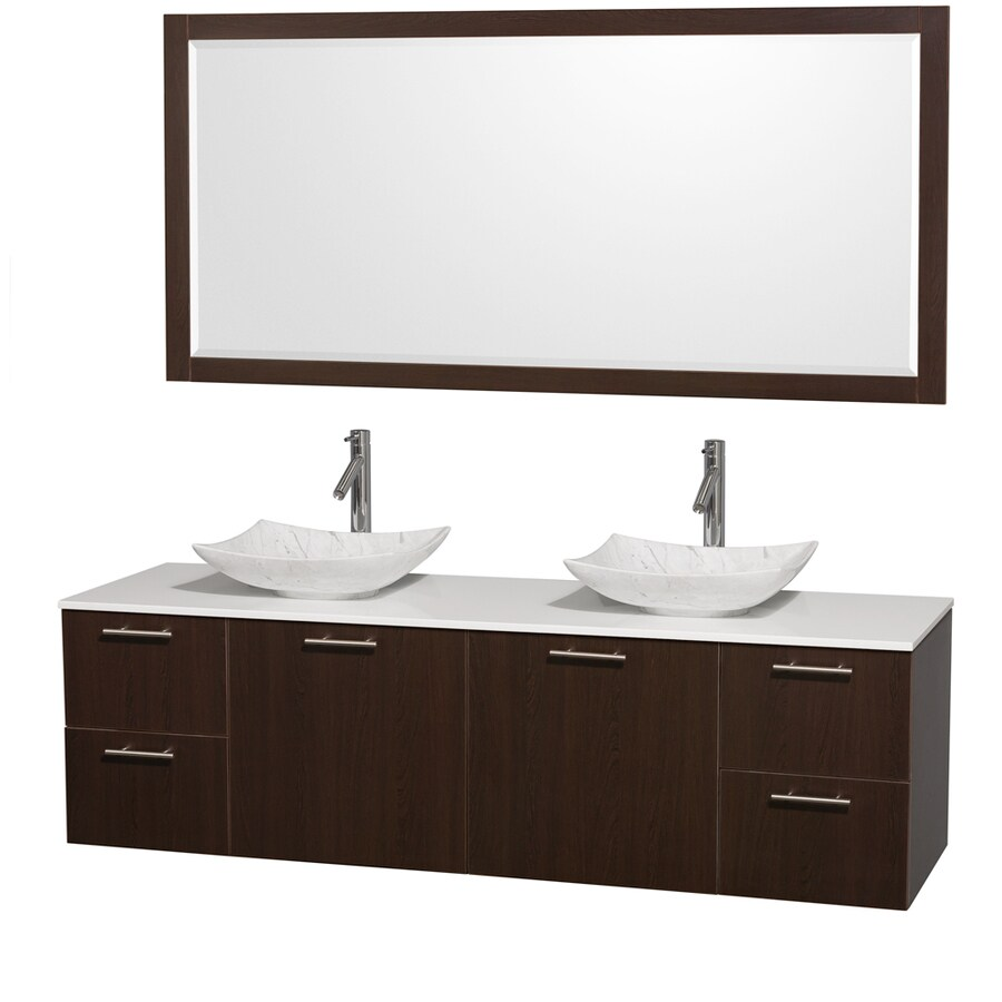 Wyndham Collection Amare Espresso (Common: 72-in x 22-in) Vessel Double Sink Bathroom Vanity with Engineered Stone Top (Mirror Included) (Actual: 72-in x 22.25-in)