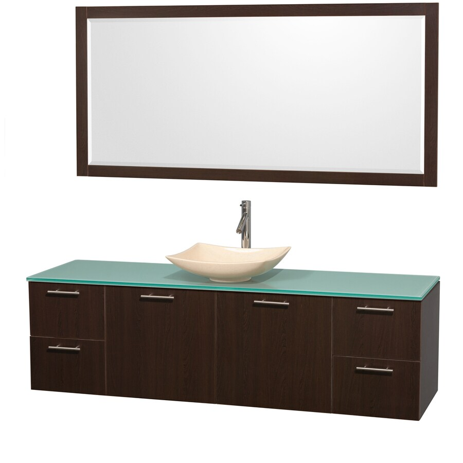 Wyndham Collection Amare Espresso 72-in Vessel Single Sink Bathroom Vanity with Tempered Glass and Glass Top (Mirror Included)