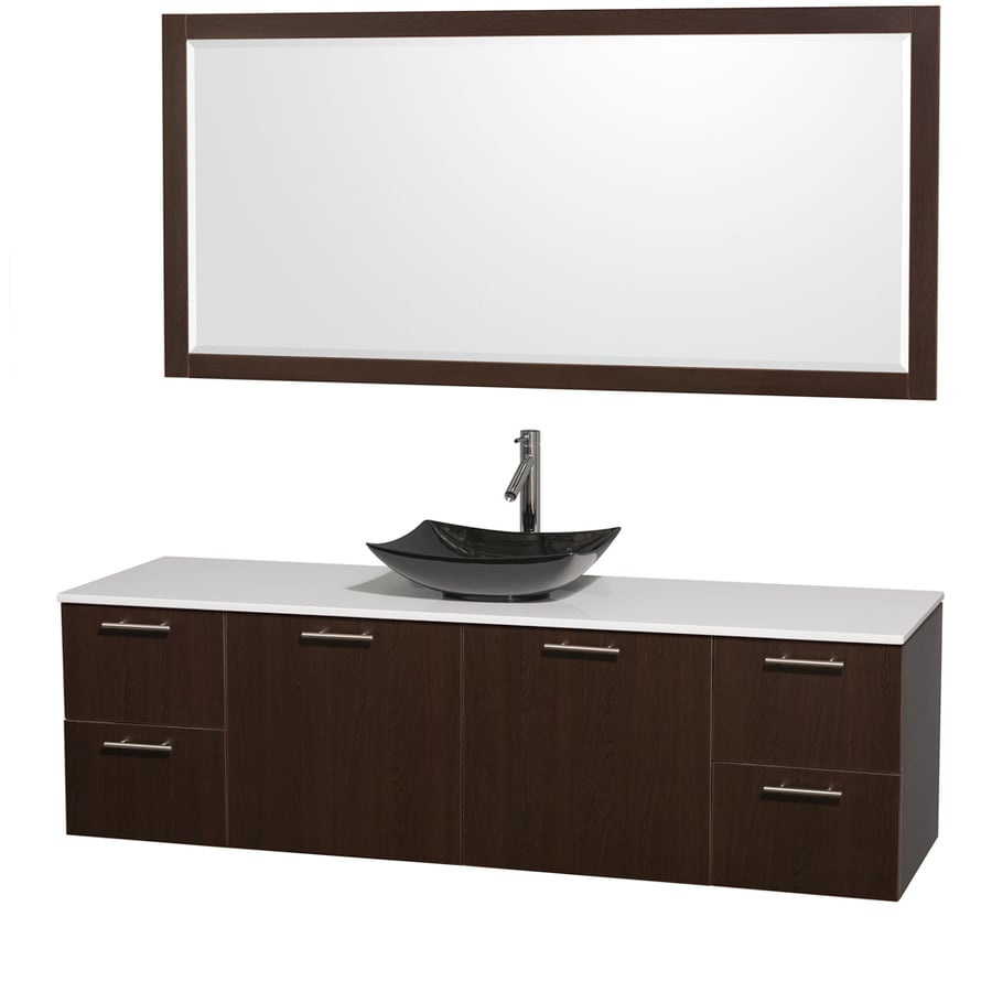 Wyndham Collection Amare Espresso (Common: 72-in x 22-in) Vessel Single Sink Bathroom Vanity with Engineered Stone Top (Mirror Included) (Actual: 72-in x 22.25-in)