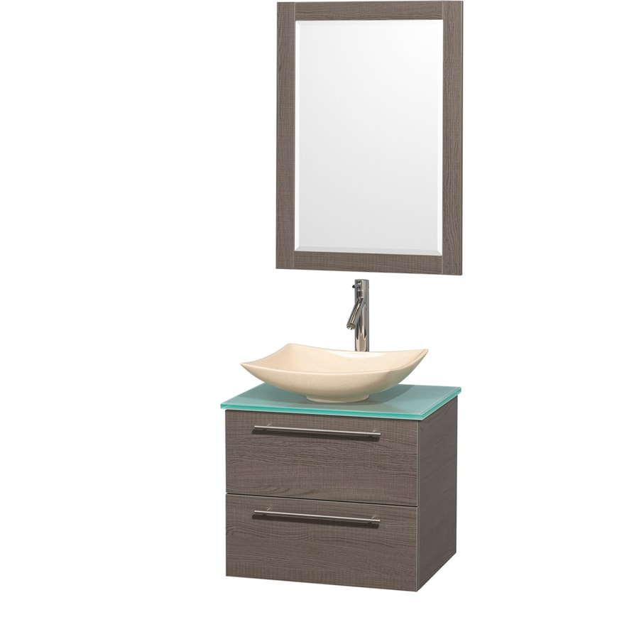 Wyndham Collection Amare Grey Oak (Common: 24-in x 20-in) Vessel Single Sink Bathroom Vanity with Tempered Glass and Glass Top (Mirror Included) (Actual: 24-in x 19.5-in)
