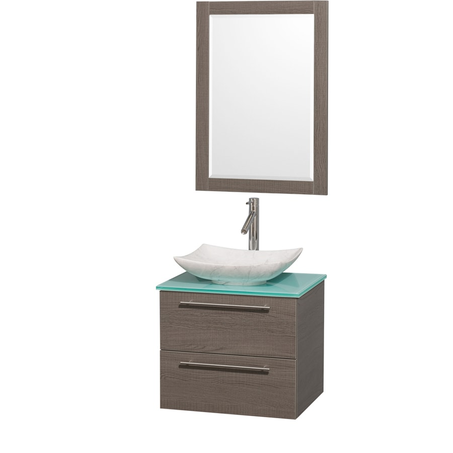 Wyndham Collection Amare Grey Oak 24-in Vessel Single Sink Bathroom Vanity with Tempered Glass and Glass Top (Mirror Included)