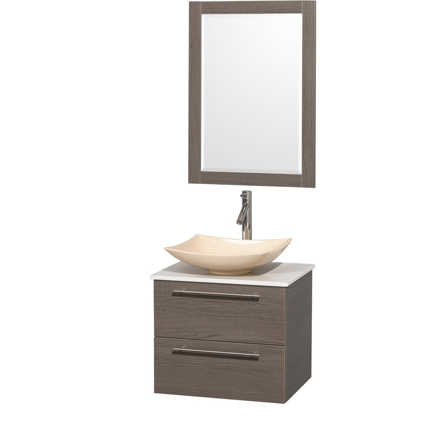 Wyndham Collection Amare Grey Oak 24-in Vessel Single Sink Bathroom Vanity with Engineered Stone Top (Mirror Included)