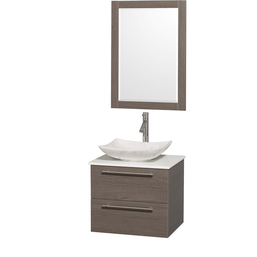 Wyndham Collection Amare Grey Oak (Common: 24-in x 20-in) Vessel Single Sink Bathroom Vanity with Engineered Stone Top (Mirror Included) (Actual: 24-in x 19.5-in)