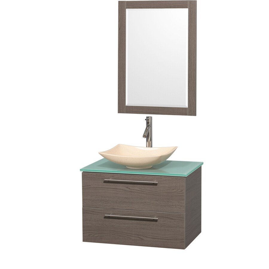 Wyndham Collection Amare Grey Oak (Common: 30-in x 21-in) Vessel Single Sink Bathroom Vanity with Tempered Glass and Glass Top (Mirror Included) (Actual: 30-in x 20.5-in)