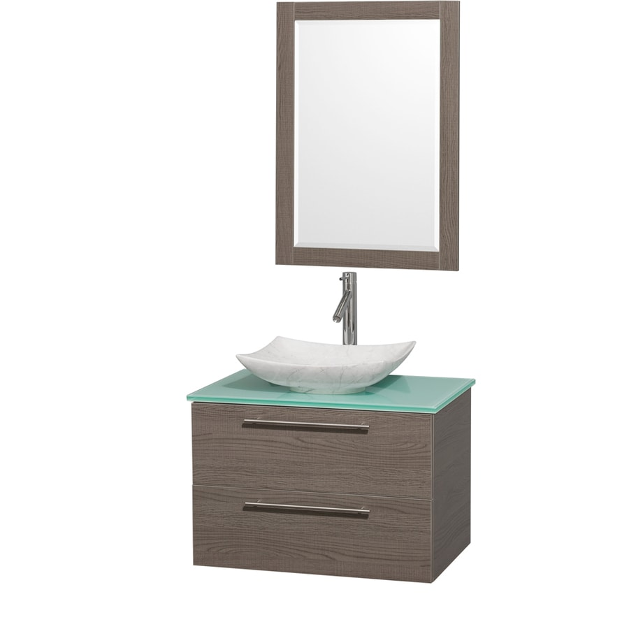Wyndham Collection Amare Grey Oak Single Vessel Sink Bathroom Vanity with Tempered Glass and Glass Top (Common: 30-in x 21-in; Actual: 30-in x 20.5-in)