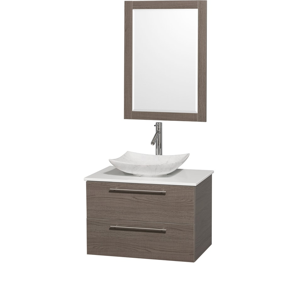 Wyndham Collection Amare Grey Oak Single Vessel Sink Bathroom Vanity with Engineered Stone Top (Common: 30-in x 21-in; Actual: 30-in x 20.5-in)