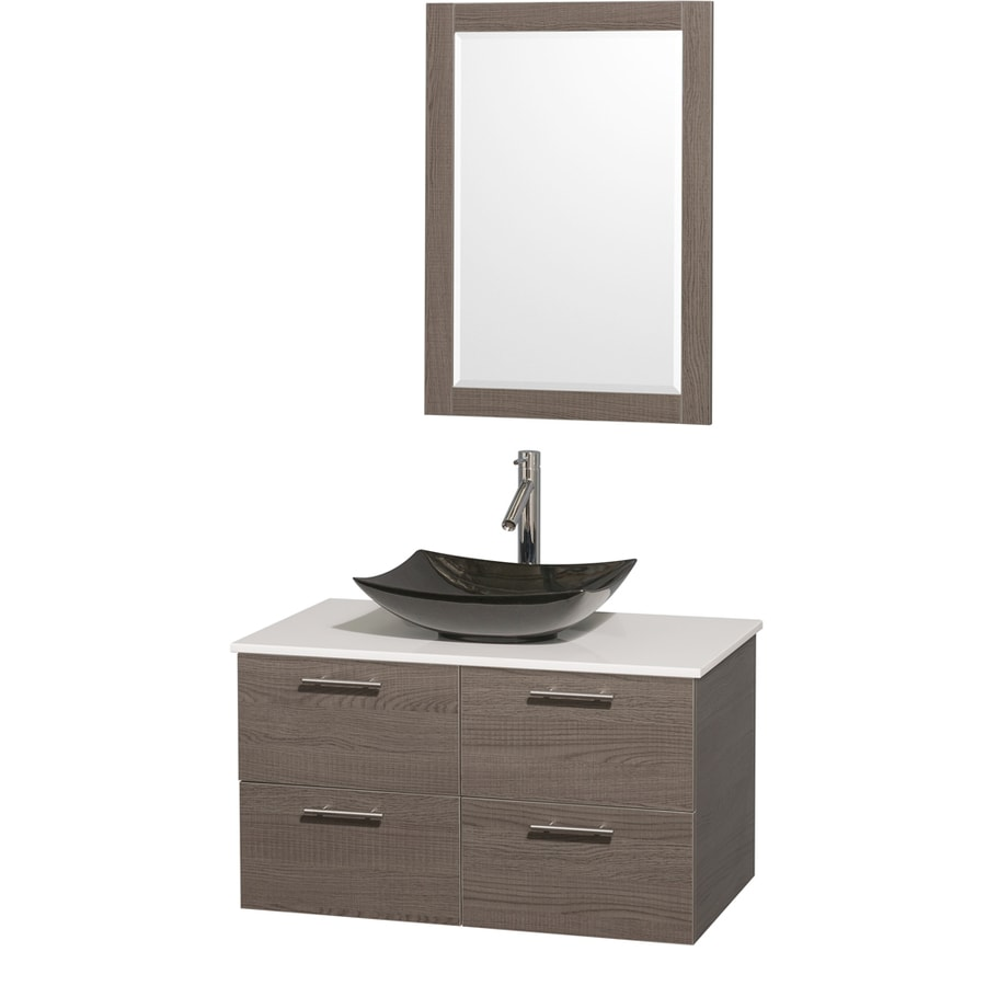 Wyndham Collection Amare Grey Oak 36-in Vessel Single Sink Bathroom Vanity with Engineered Stone Top (Mirror Included)