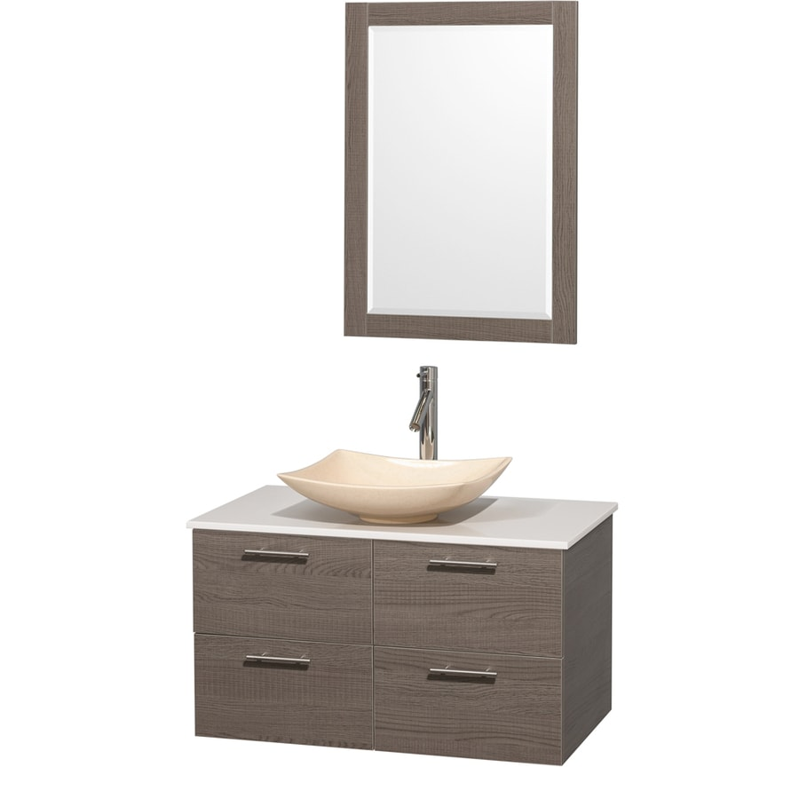 Wyndham Collection Amare Grey Oak Single Vessel Sink Bathroom Vanity with Engineered Stone Top (Common: 36-in x 22-in; Actual: 36-in x 21.5-in)