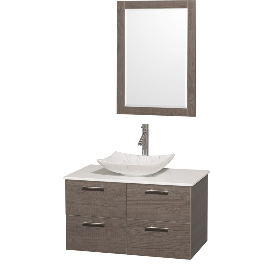 Wyndham Collection Amare Grey Oak (Common: 36-in x 22-in) Vessel Single Sink Bathroom Vanity with Engineered Stone Top (Mirror Included) (Actual: 36-in x 21.5-in)