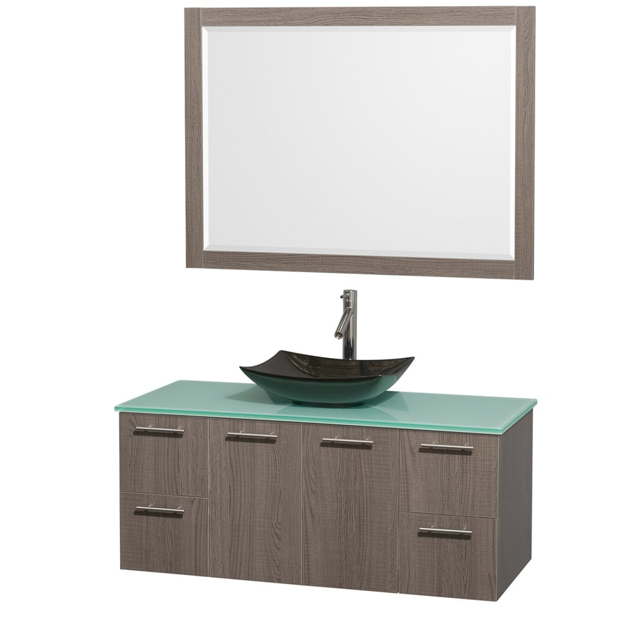 Wyndham Collection Amare Grey Oak (Common: 48-in x 22-in) Vessel Single Sink Bathroom Vanity with Tempered Glass and Glass Top (Mirror Included) (Actual: 48-in x 21.75-in)