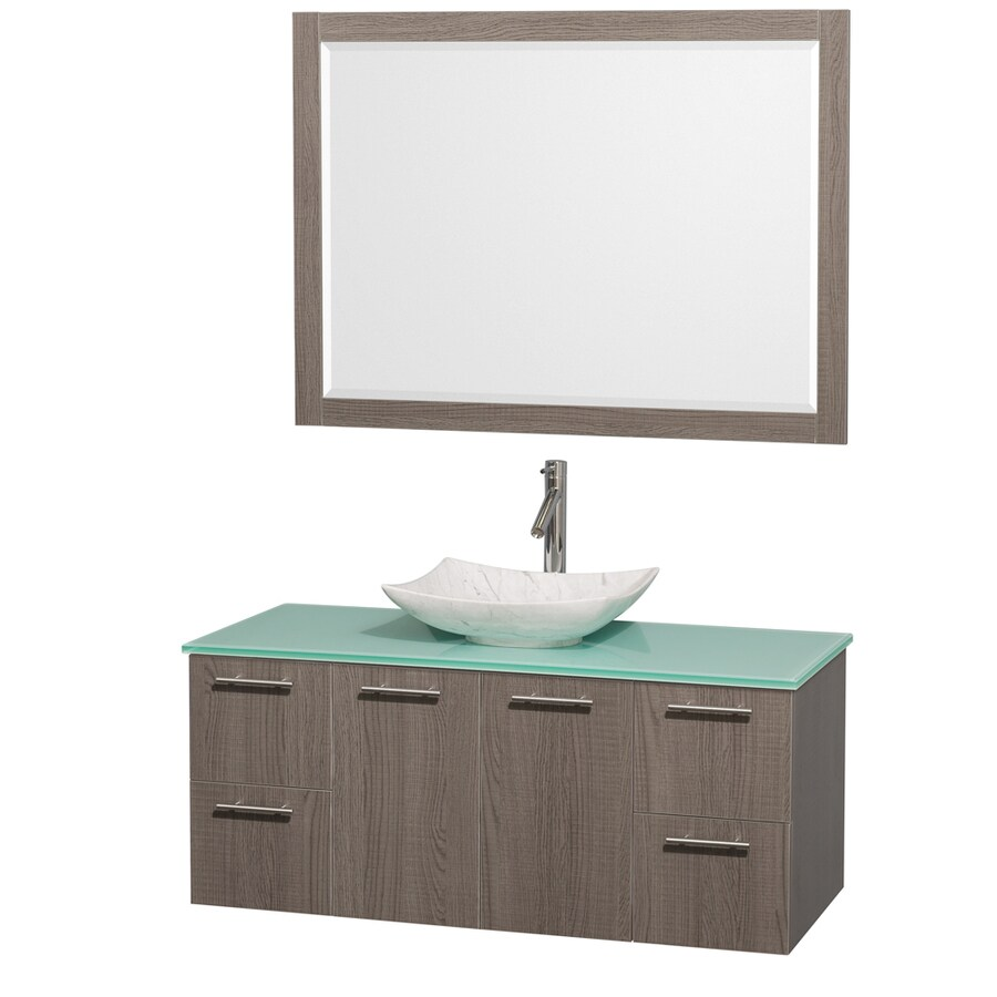 Wyndham Collection Amare Grey Oak Single Vessel Sink Bathroom Vanity with Tempered Glass and Glass Top (Common: 48-in x 22-in; Actual: 48-in x 21.75-in)