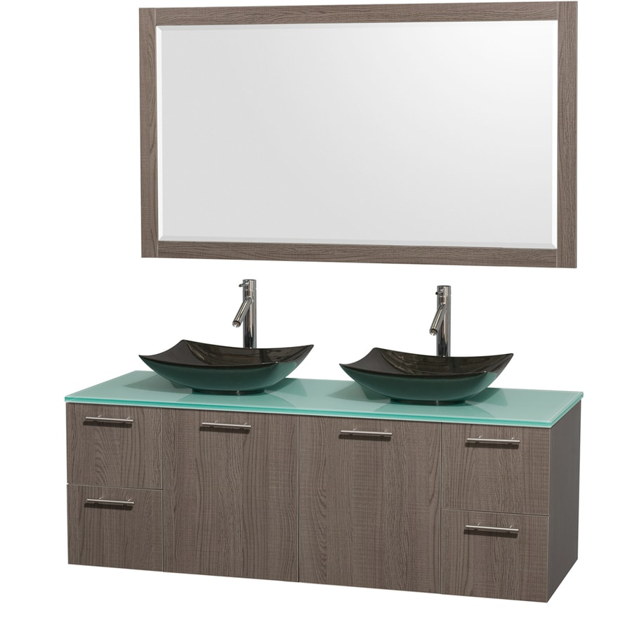 Wyndham Collection Amare Grey Oak Double Vessel Sink Bathroom Vanity with Tempered Glass and Glass Top (Common: 60-in x 22-in; Actual: 60-in x 22.25-in)