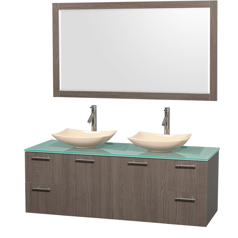 Wyndham Collection Amare Grey Oak (Common: 60-in x 22-in) Vessel Double Sink Bathroom Vanity with Tempered Glass and Glass Top (Mirror Included) (Actual: 60-in x 22.25-in)