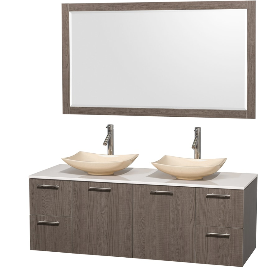 Wyndham Collection Amare Grey Oak 60-in Vessel Double Sink Bathroom Vanity with Engineered Stone Top (Mirror Included)