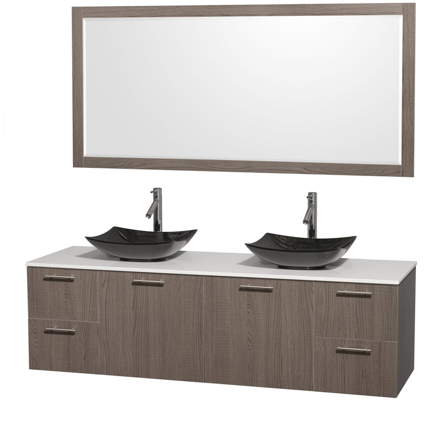 Wyndham Collection Amare Grey Oak 72-in Vessel Double Sink Bathroom Vanity with Engineered Stone Top (Mirror Included)