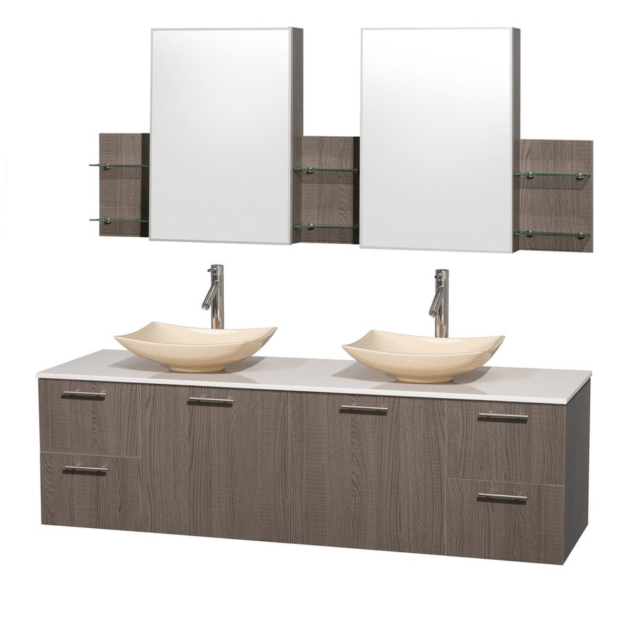 Wyndham Collection Amare Grey Oak Double Vessel Sink Bathroom Vanity with Engineered Stone Top (Common: 72-in x 22-in; Actual: 72-in x 22.25-in)