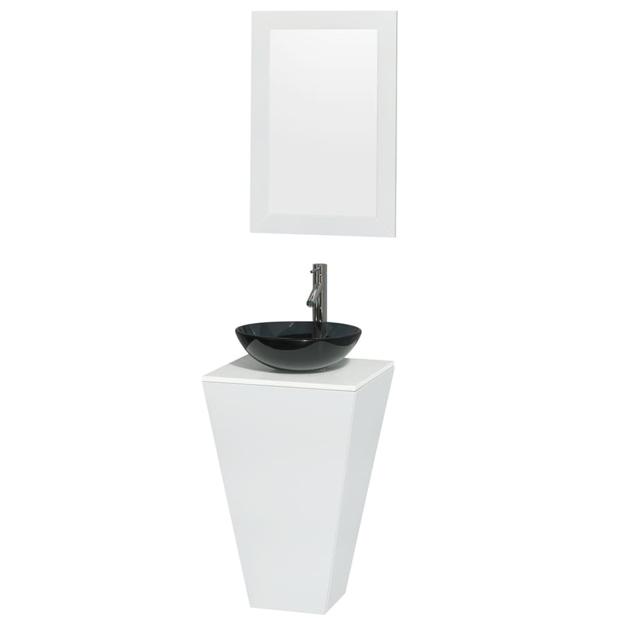 Wyndham Collection Esprit Glossy White Single Vessel Sink Bathroom Vanity with Engineered Stone Top (Common: 20-in x 20-in; Actual: 20-in x 20-in)