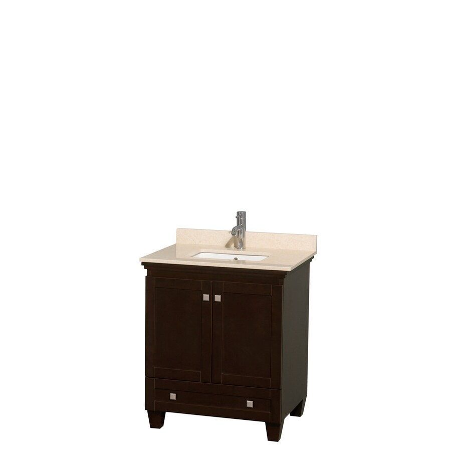 Wyndham Collection Acclaim Espresso Undermount Single Sink Bathroom Vanity with Natural Marble Top (Common: 30-in x 22-in; Actual: 30-in x 22-in)