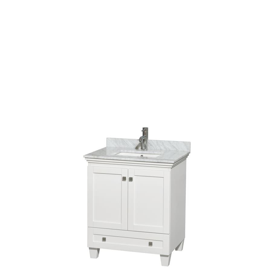 Wyndham Collection Acclaim White Undermount Single Sink Bathroom Vanity with Natural Marble Top (Common: 30-in x 22-in; Actual: 30-in x 22-in)