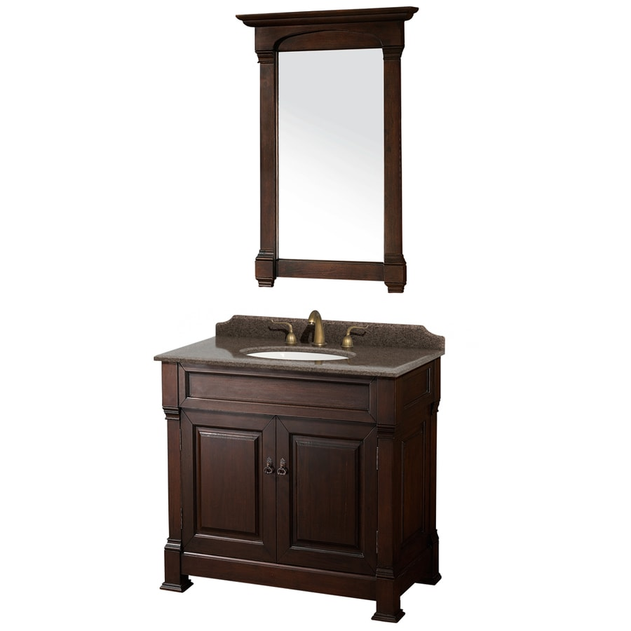 Wyndham Collection Andover Dark Cherry (Common: 36-in x 23-in) Undermount Single Sink Oak Bathroom Vanity with Granite Top (Mirror Included) (Actual: 36-in x 23-in)