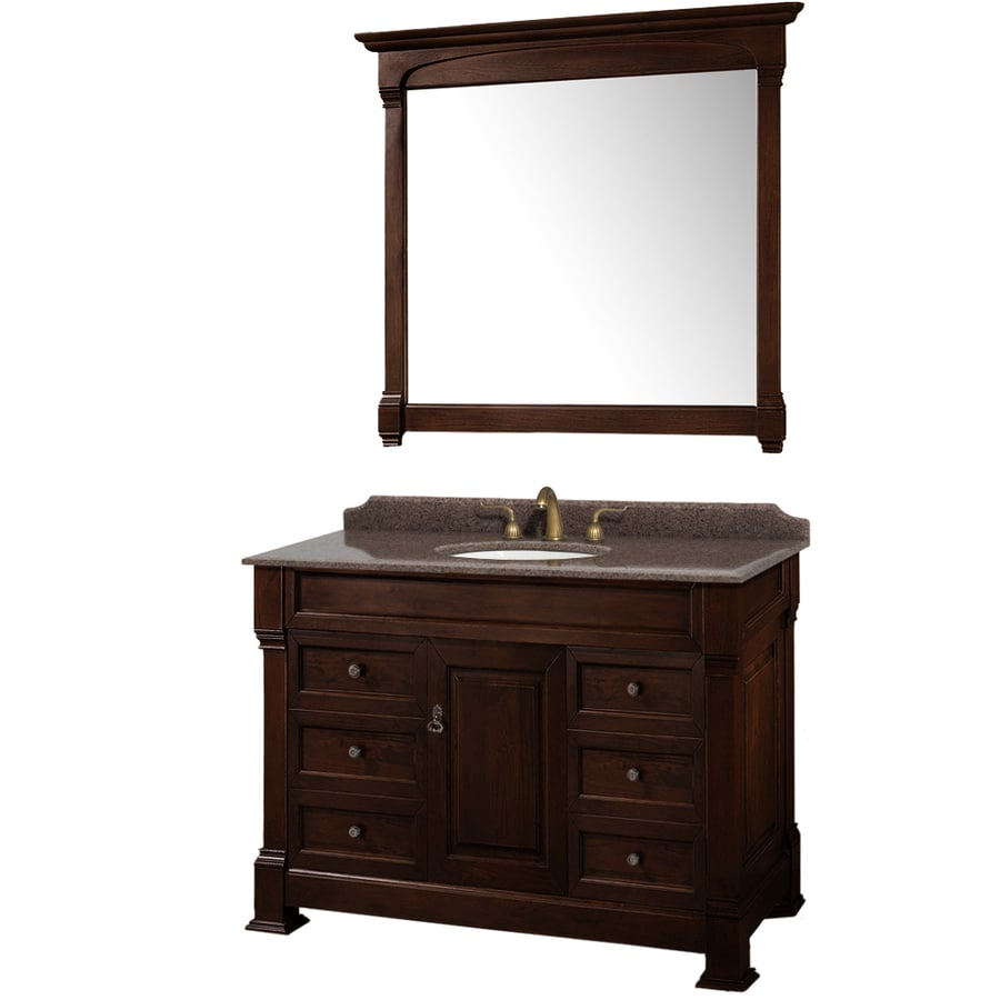 48in Undermount Single Sink Oak Bathroom Vanity with Granite Top