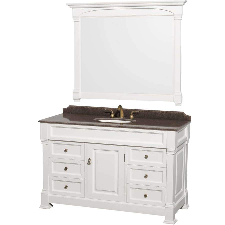 Wyndham Collection Andover White 55-in Undermount Single Sink Oak Bathroom Vanity with Granite Top (Mirror Included)