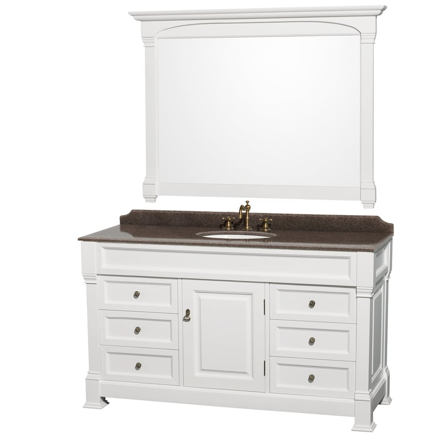 Shop Wyndham Collection Andover White Undermount Single Sink Bathroom Vanity With Granite Top