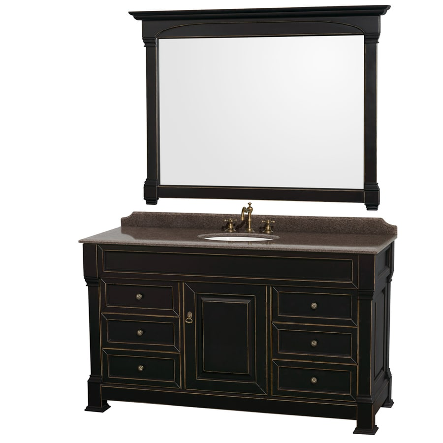 Wyndham Collection Andover Black 60-in Undermount Single Sink Oak Bathroom Vanity with Granite Top (Mirror Included)