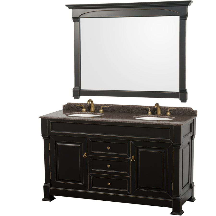 Wyndham Collection Andover Black (Common: 60-in x 23-in) Undermount Double Sink Oak Bathroom Vanity with Granite Top (Mirror Included) (Actual: 60-in x 23-in)