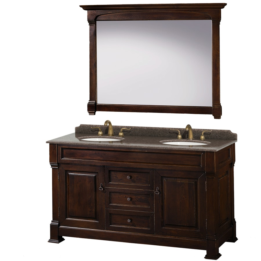 Shop wyndham collection andover dark cherry undermount double sink bathroom vanity with granite - Double bathroom vanities granite tops ...