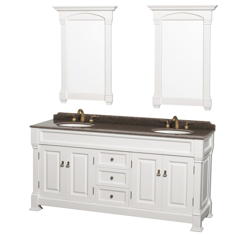 Shop wyndham collection andover white undermount double sink bathroom vanity with granite top Stores to buy bathroom vanities