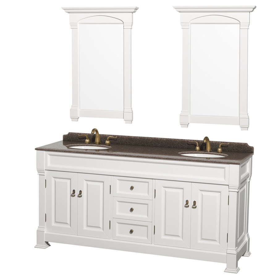 Shop wyndham collection andover white undermount double sink bathroom vanity with granite top - Double bathroom vanities granite tops ...