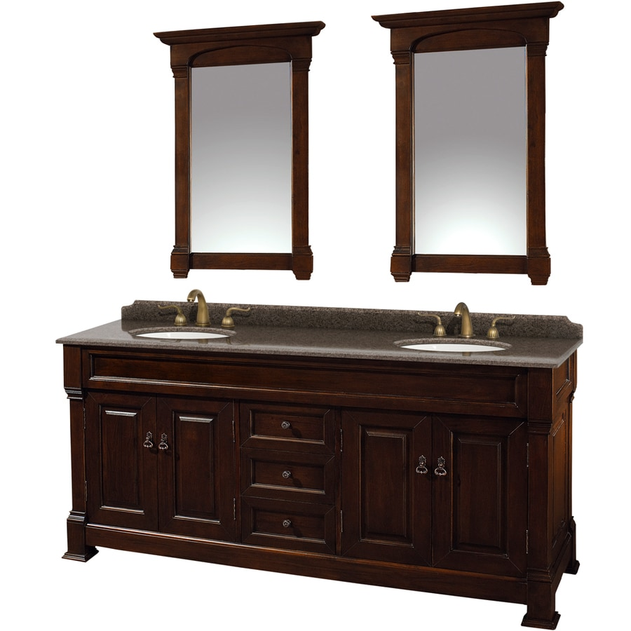 Wyndham Collection Andover Dark Cherry 72-in Undermount Double Sink Oak Bathroom Vanity with Granite Top (Mirror Included)