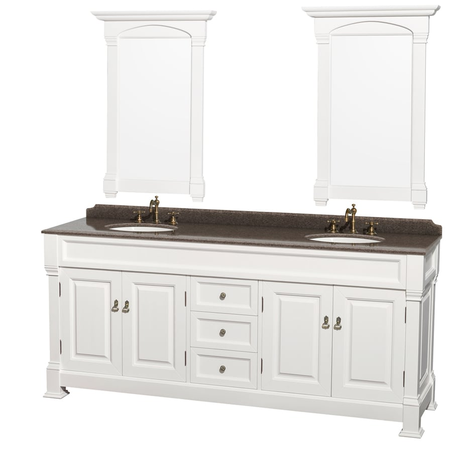 Wyndham Collection Andover White (Common: 80-in x 23-in) Undermount Double Sink Oak Bathroom Vanity with Granite Top (Mirror Included) (Actual: 80-in x 23-in)