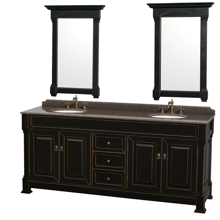 Wyndham Collection Andover Black (Common: 80-in x 23-in) Undermount Double Sink Oak Bathroom Vanity with Granite Top (Mirror Included) (Actual: 80-in x 23-in)