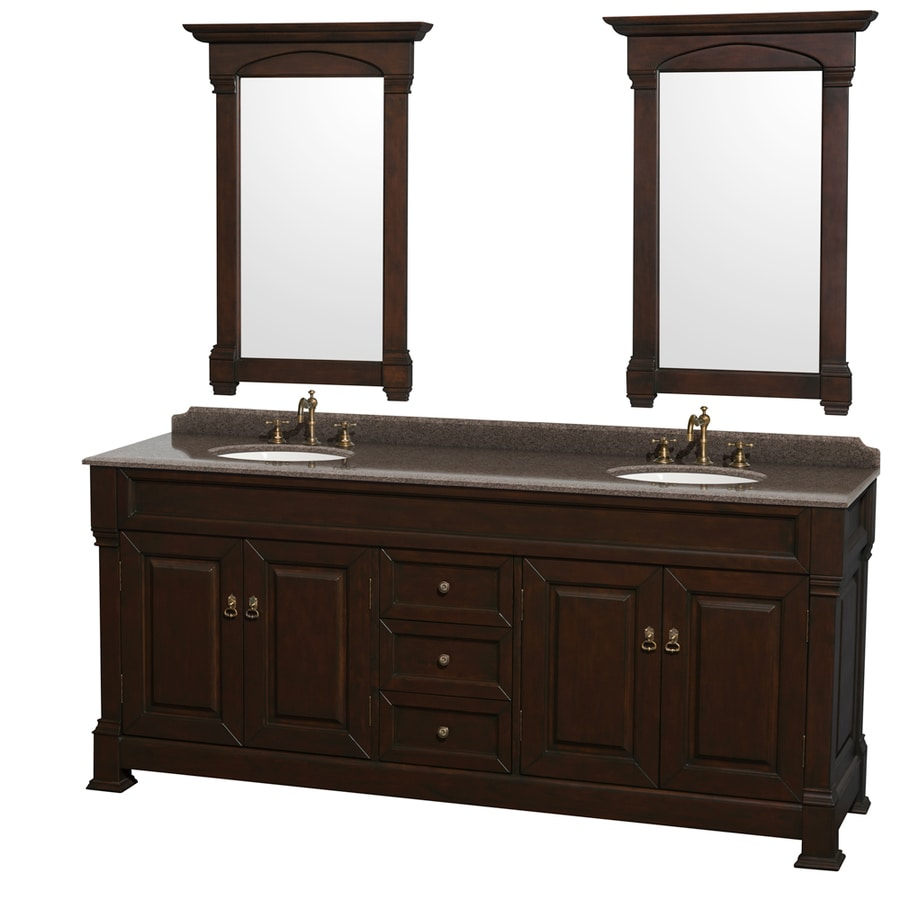 Wyndham Collection Andover Dark Cherry Undermount Double Sink Bathroom Vanity with Granite Top (Common: 80-in x 23-in; Actual: 80-in x 23-in)