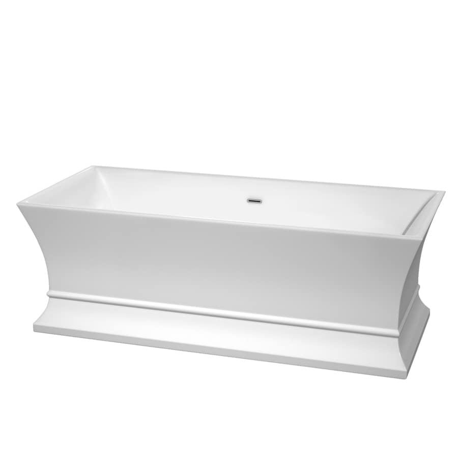 Wyndham Collection Jamie 67-in White Acrylic Freestanding Bathtub with Center Drain