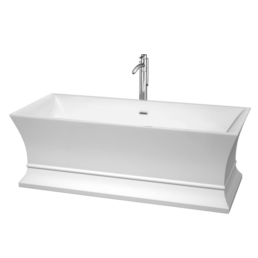 Wyndham Collection Jamie White Acrylic Rectangular Freestanding Bathtub with Center Drain (Common: 30-in x 67-in; Actual: 23.25-in x 30-in x 67-in)
