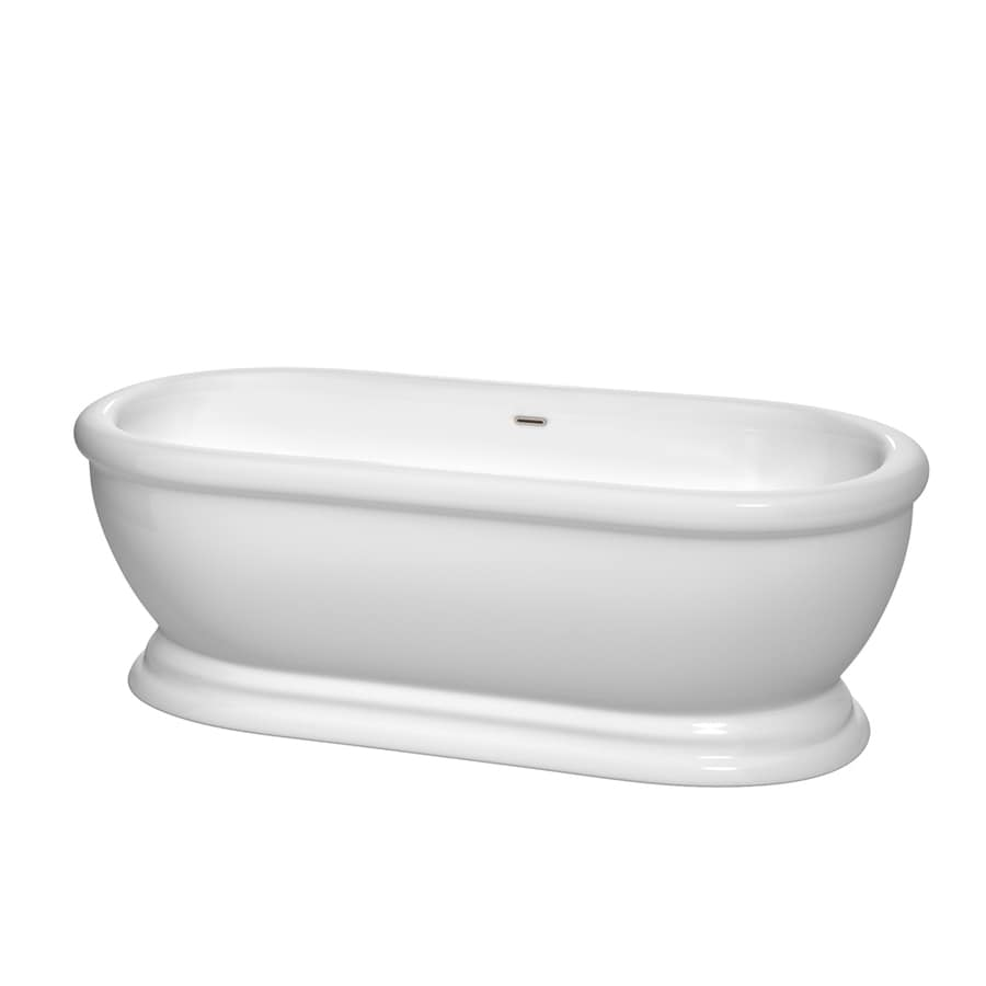 Wyndham Collection Mary White Acrylic Oval Freestanding Bathtub with Center Drain (Common: 31-in x 69-in; Actual: 23.25-in x 30.5-in x 68.5-in)