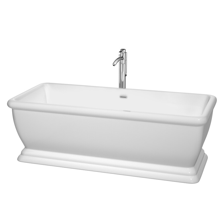 Wyndham Collection Candace 68.5-in White Acrylic Freestanding Bathtub with Center Drain