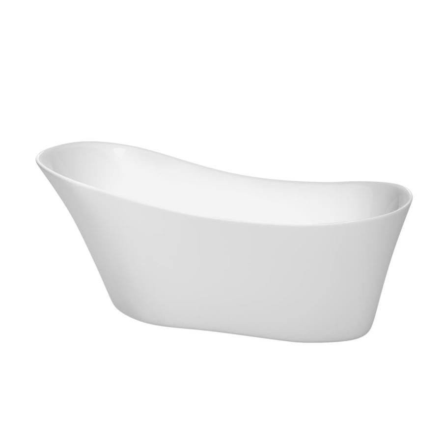 Wyndham Collection Janice 67-in White Acrylic Freestanding Bathtub with Right-Hand Drain