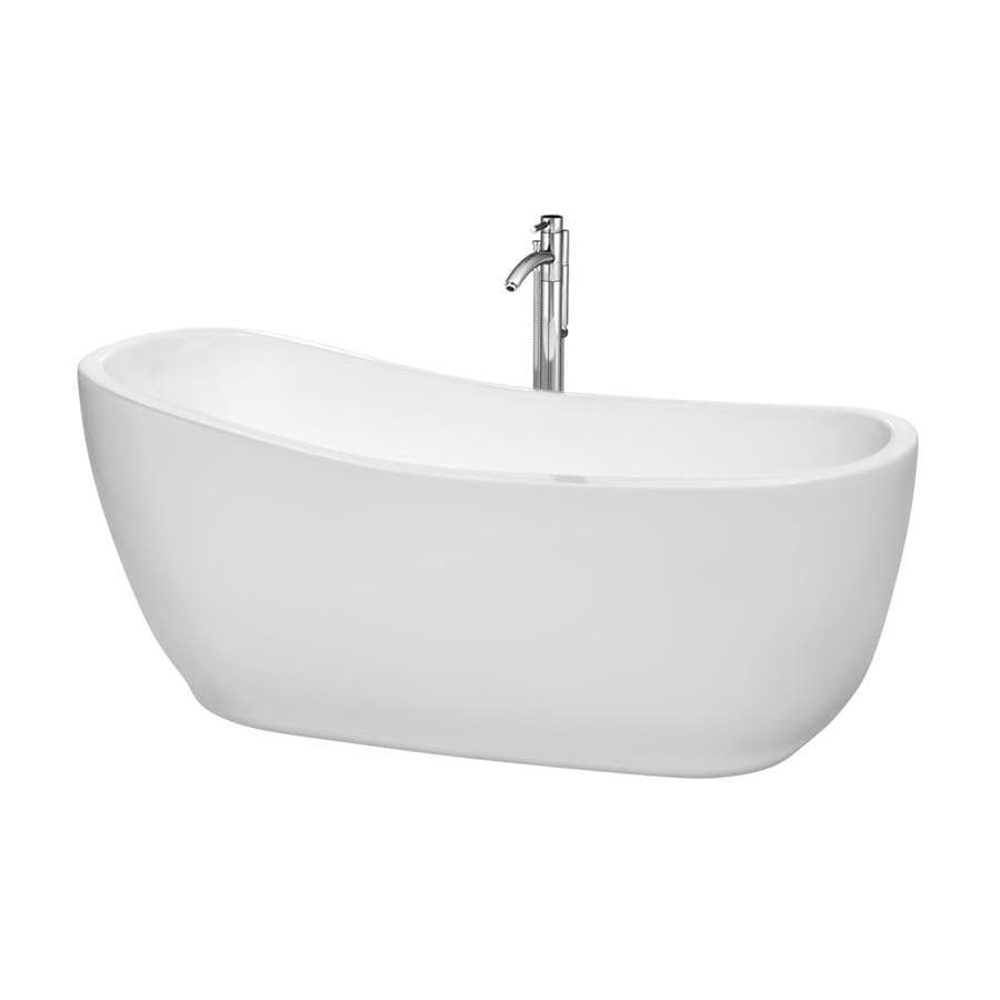 Wyndham Collection Margaret White Acrylic Oval Freestanding Bathtub with Right-Hand Drain (Common: 28-in x 67-in; Actual: 27.25-in x 27.5-in x 66.5-in)