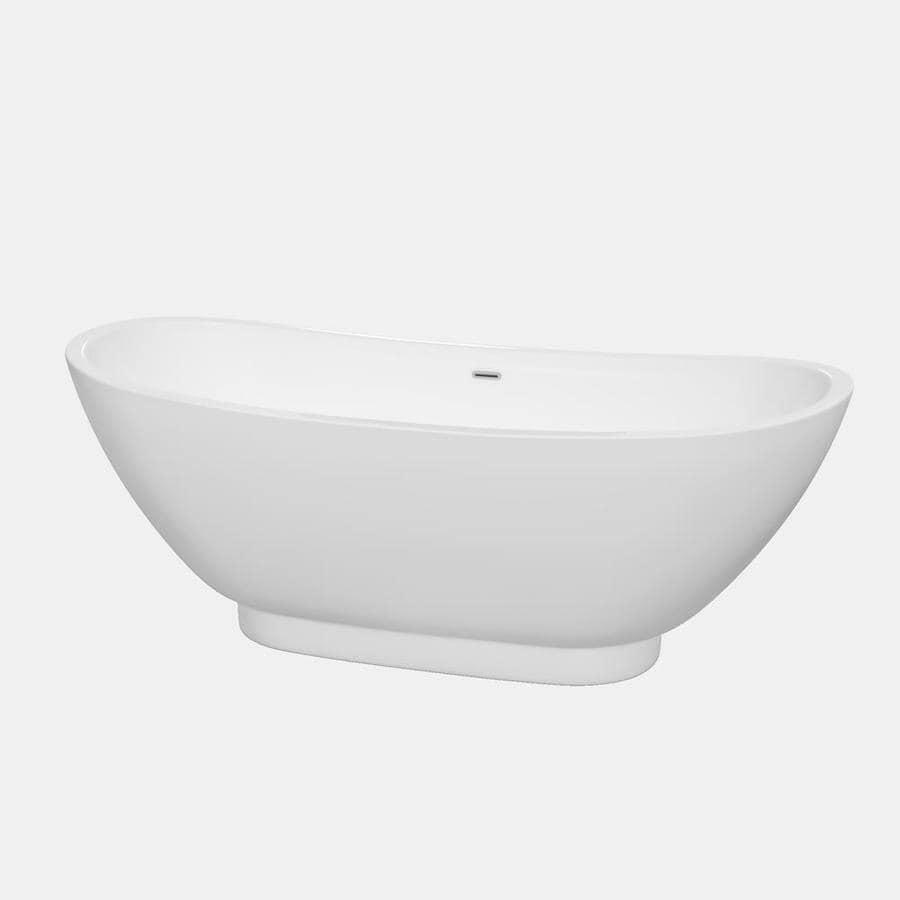 Wyndham Collection Clara 69-in White Acrylic Freestanding Bathtub with Center Drain
