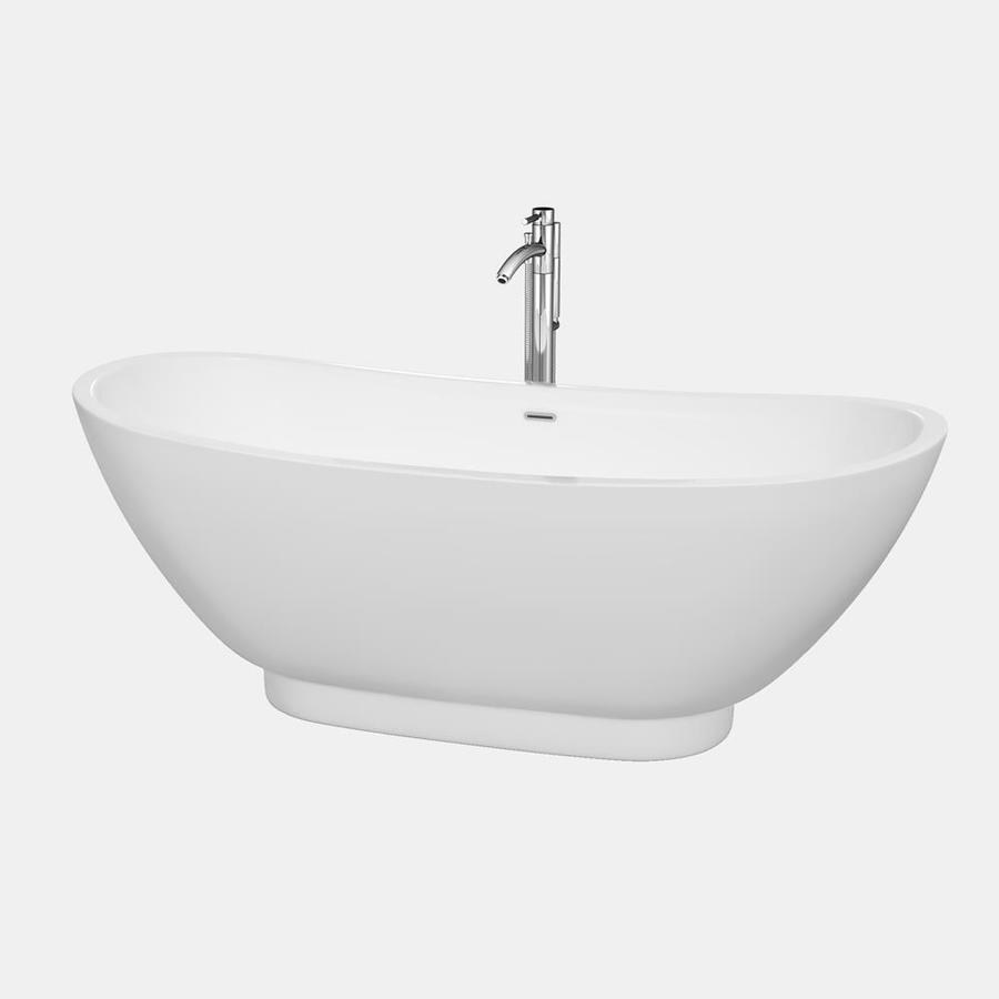 Wyndham Collection Clara White Acrylic Oval Freestanding Bathtub with Center Drain (Common: 30-in x 69-in; Actual: 25.75-in x 29.5-in x 69-in)