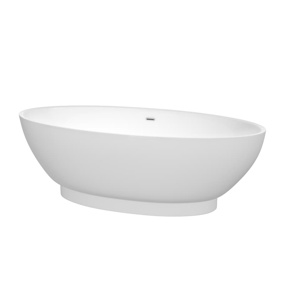 Wyndham Collection Helen White Acrylic Oval Freestanding Bathtub with Center Drain (Common: 30-in x 71-in; Actual: 23.5-in x 30-in x 70.5-in)