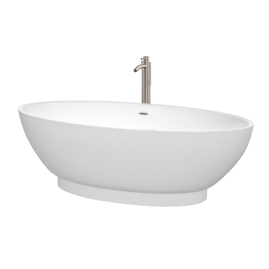 Wyndham Collection Helen 70.5-in White Acrylic Freestanding Bathtub with Center Drain