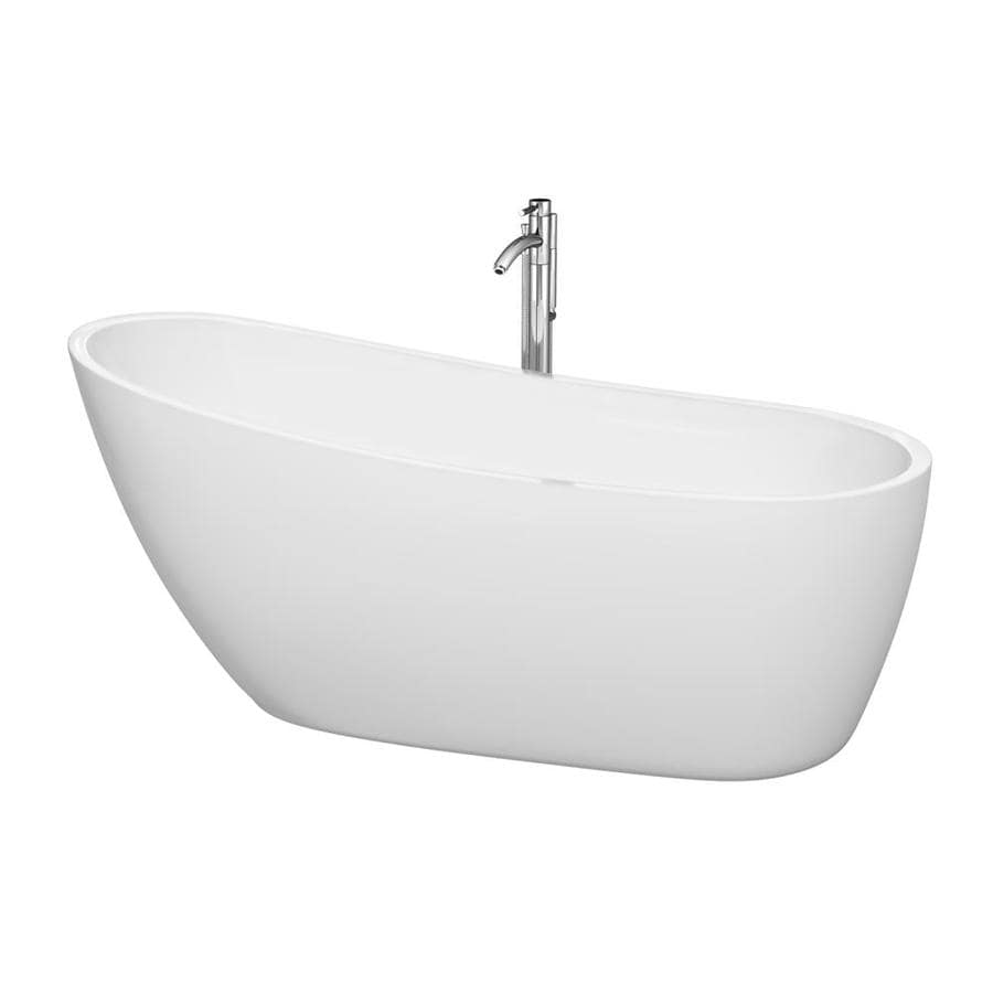 Wyndham Collection Florence White Acrylic Oval Freestanding Bathtub with Right-Hand Drain (Common: 31-in x 69-in; Actual: 29.25-in x 30.5-in x 68.75-in)