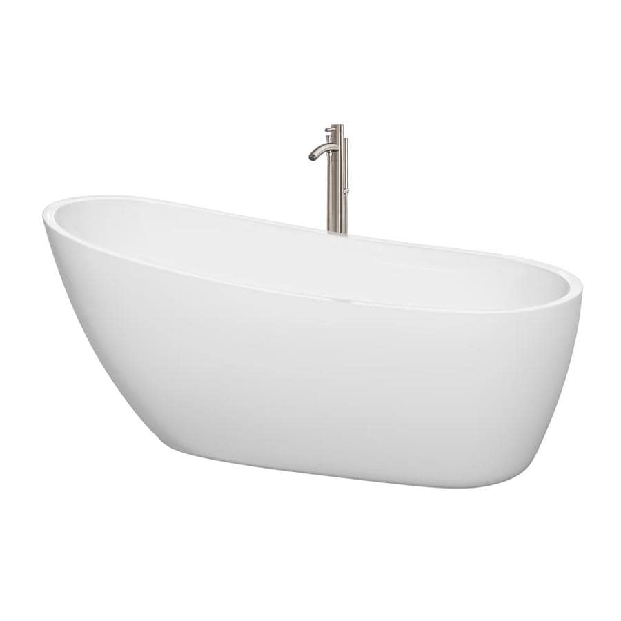 Wyndham Collection Florence 68.75-in White Acrylic Freestanding Bathtub with Right-Hand Drain